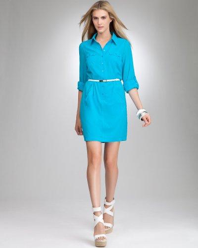 Bebe Button Up 3/4 Sleeve Shirt Dress CAPRI BREEZE Size Medium