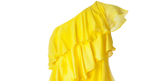 HALSTON HERITAGE Lemon One-Shoulder Tiered Silk Dress