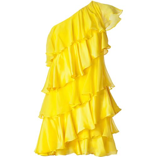 HALSTON HERITAGE Lemon One-Shoulder Tiered Silk Dress