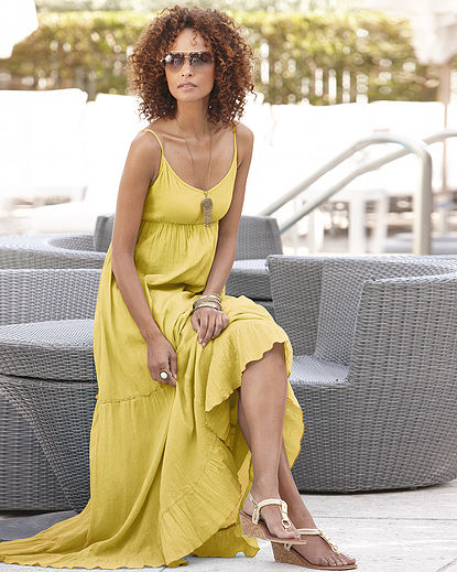 Yellow tiered gauze maxi dress