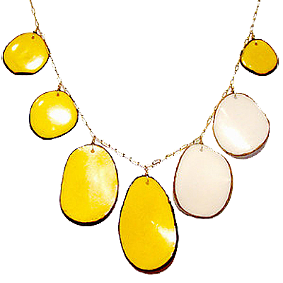 Amy DiGregoriaBarnstable Harbor polished tagua nut slices necklace $144