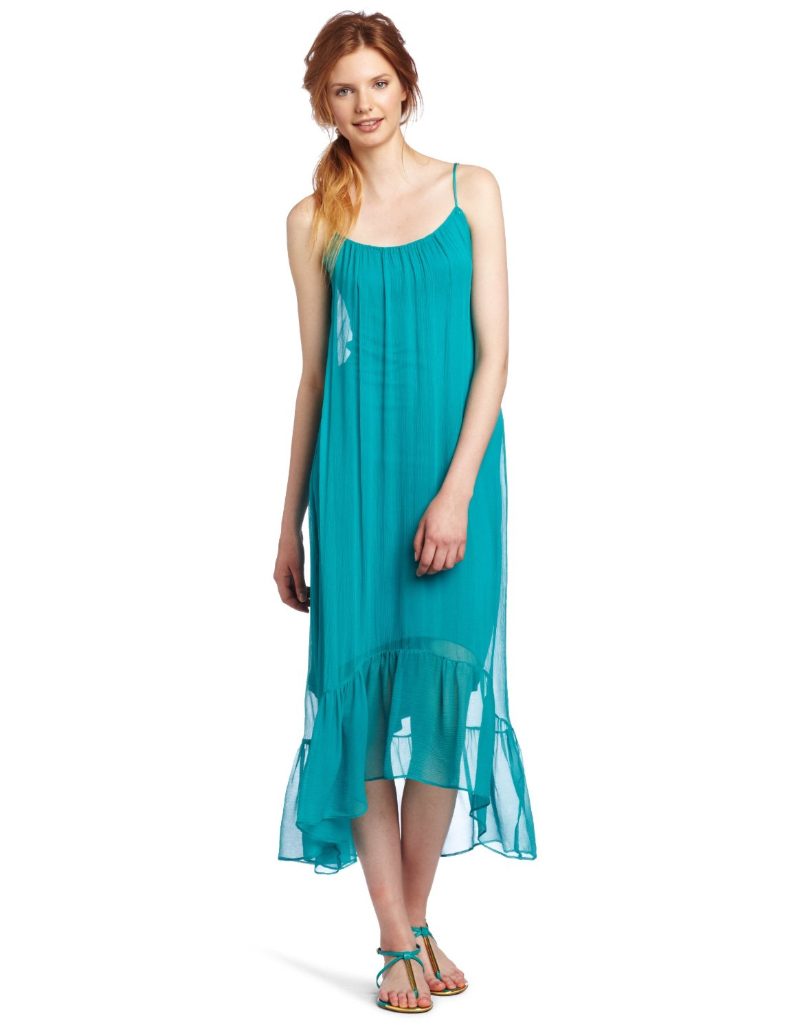 Aqua High Low Cascade Dress from Twelfth St. by Cynthia Vincent