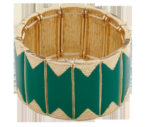ModCloth Luxe Be A Lady Green Enamel Metal Plastic Bracelet