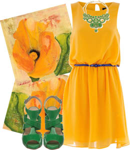 Yellow Dress Green Shoes