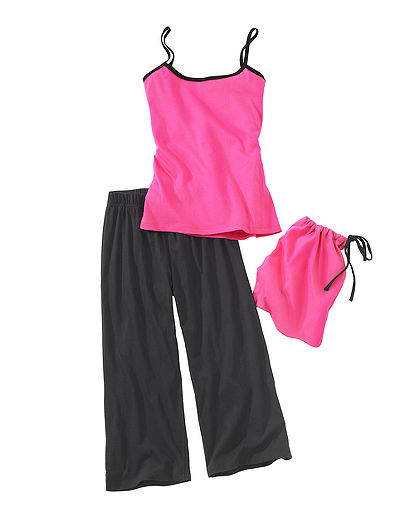 Pink cotton jersey knit cami with black spaghetti straps and black elastic-waist capri set