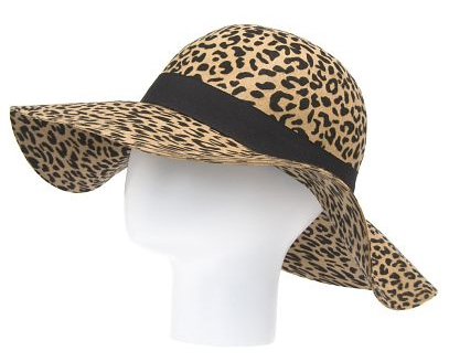 Gata C Floppy wool hat in animal print with contrast ribbon