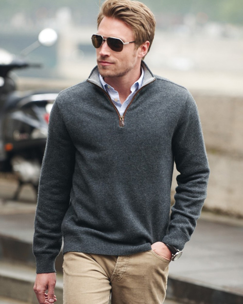Grey cashmere half zip sweater