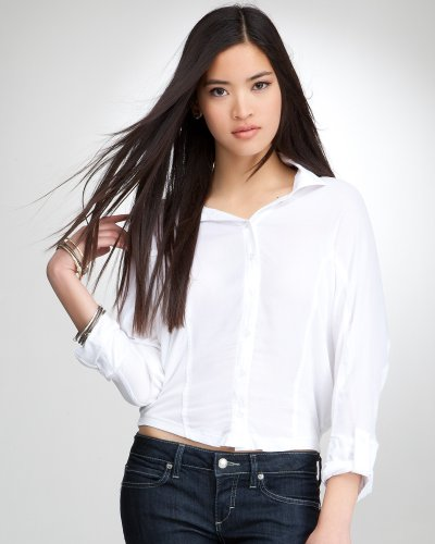 Rolled 3-4 Sleeve Double Placket Top White