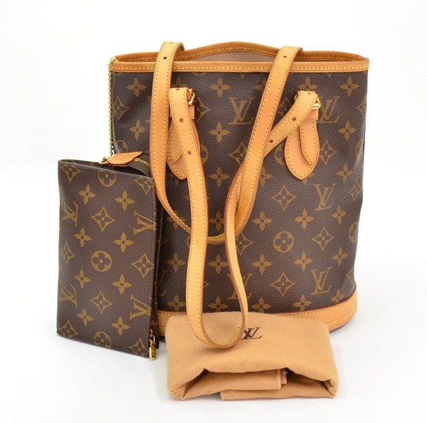authentic Louis Vuitton Monogram Canvas Bucket PM Petit Shoulder Bag