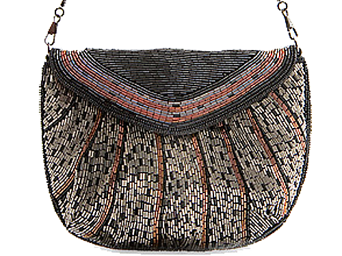 Beaded messenger style evening handbag with thin shoulder strap