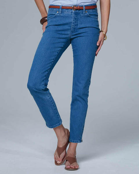 Cropped jeans ankle zip blue Pure Collection