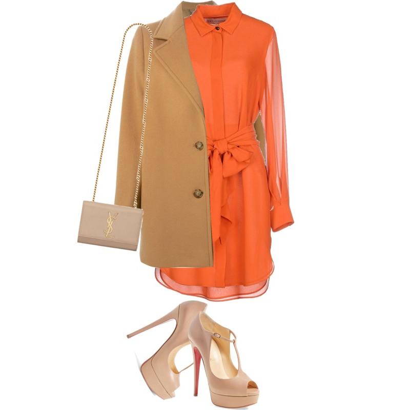 Emilio Pucci Short orange tangerine Dress Stella McCartney Classic camel Coat Christian Louboutin Alta Poppins Mary Jane Platform Pump Classic Small Monogram Saint Laurent Satchel
