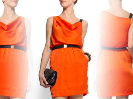 Mango belted sleeveless tangerine dress