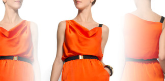 Mango belted sleeveless tangerine dress