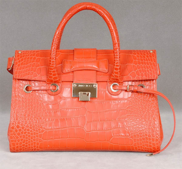 authentic Jimmy Choo Coral Croc Embossed Leather Rosalie Bag