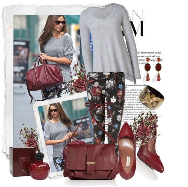 CURRENT ELLIOTT Black Wildflower jeans grey silveri Cashmere Silk Pullover Bordeaux Malabar Pumps Mocha Crossbody Bag Retro Bangle Red Cameo Lorenza Earrings