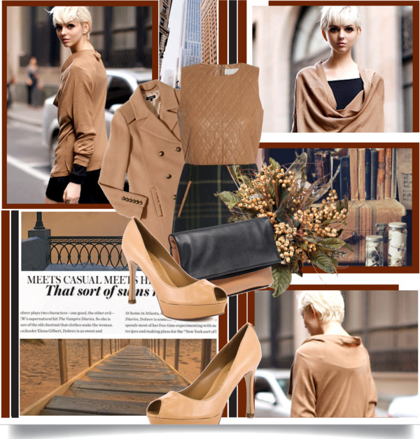 Ivanka trump whisker natural leather pump quilted leather plaid dress brown pea coat brown black leather clutch