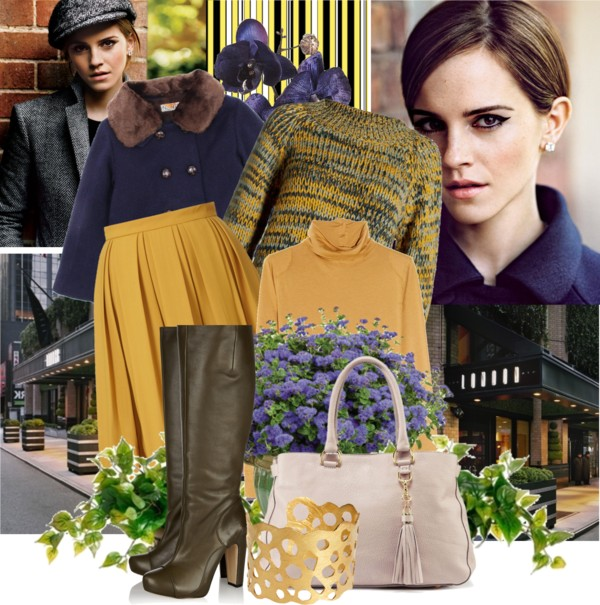 Jil Sander knit top MiH Jeans turtleneck top navy Coat Orla Kiely yellow pleated skirt Gold plated bangle textured-leather knee boots