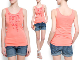 Mango flower embellished tank top