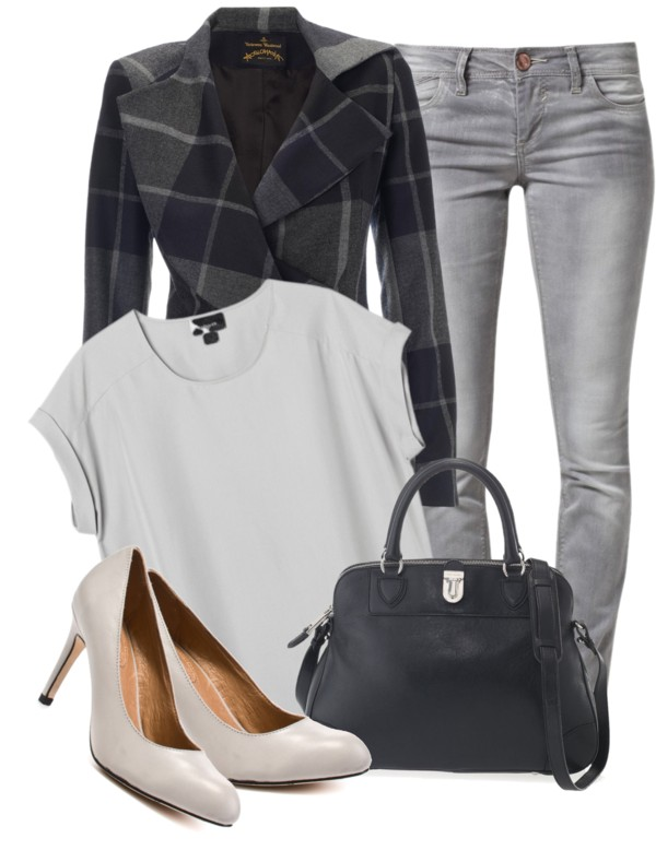 Monki grey top Vivienne Westwood blue jacket Skinny fit jeans delicious Corso Como high heel shoes Marc Jacobs handbag