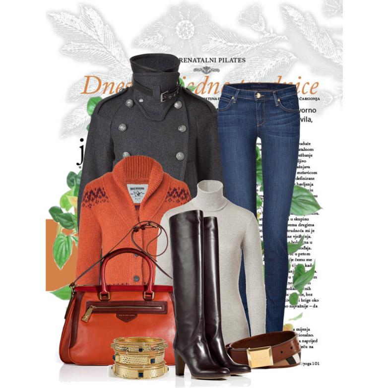 Orange cardigan Pearl Grey Cotton Turtleneck T-Shirt double breasted pea coat dark wash jeans knee high boots leather handbag stackable bracelet tan belt
