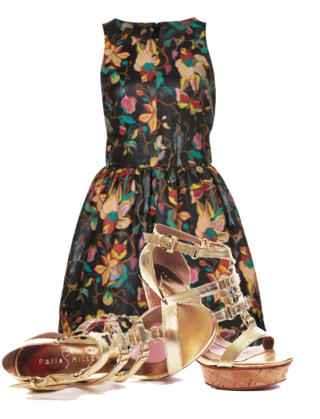 Paris Hilda Jayda Gold Sleeveless floral painted premium leather dress