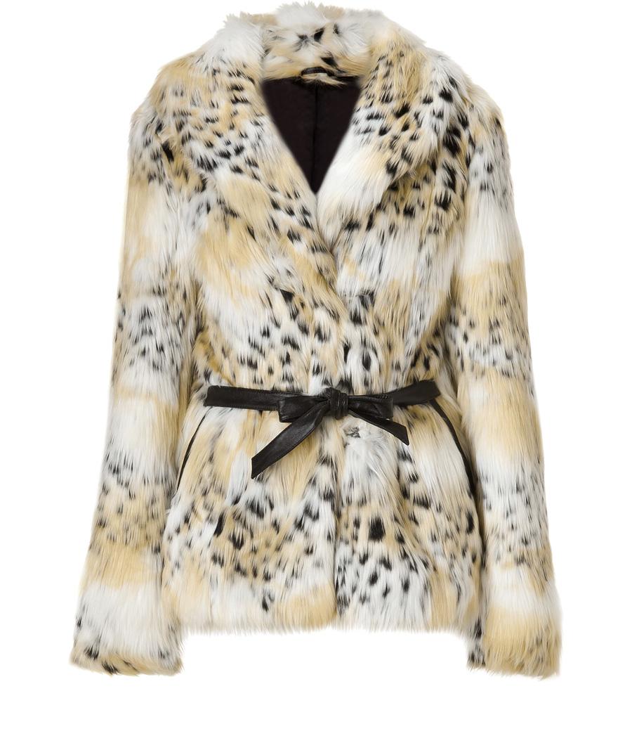 Rachel Zoe Tonal Cream Cheetah Faux Fur Macgraw Jacket