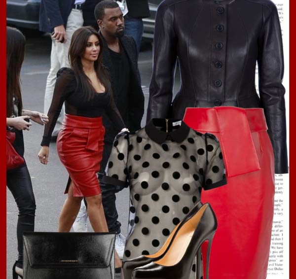 Burberry black leather peplum jacket Balenciaga red leather skirt Christian Louboutin pumps burberry black leather handbag