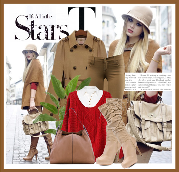 Camel cape style winter coat red sweater work custom tan viper jeans taupe knee high boots white chiffon blouse textured hobo bag