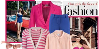 pink striped cardigan pink blouse hot pink blazer jacket royal blue trousers hot pink open toe pumps