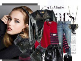 Black leather biker jacket black combat boots navy pink stripe sweater red cardigan distressed blue jeans black bracelet black bag