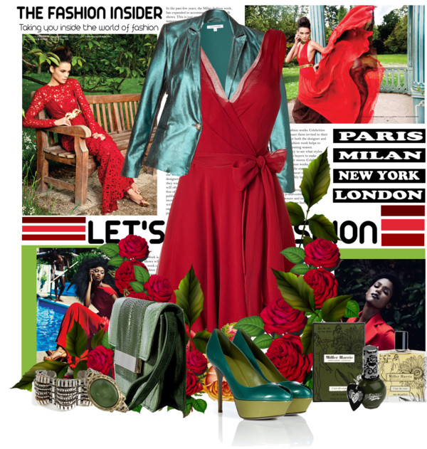 Green shoes red dress green bag green jacket ralph lauren emilio pucci sergio rossi