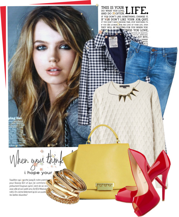 Red shoes and yellow bag by vale-g featuring yellow gold jewelry