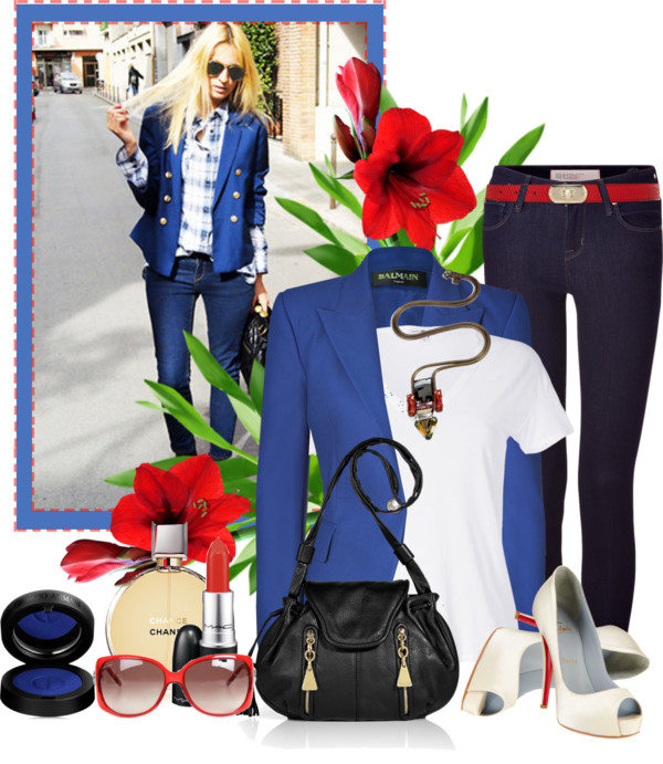 White James Perse t-shirt blue fitted blazer skinny blue jeans Christian Louboutin Very Prive white pumps