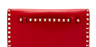 Red Leather Valentino Rockstud Flap Bag