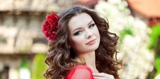 pretty lady red flower in hair red dress enlrg