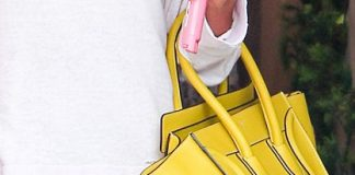 Ashley Tisdale's yellow Celine leather handbag