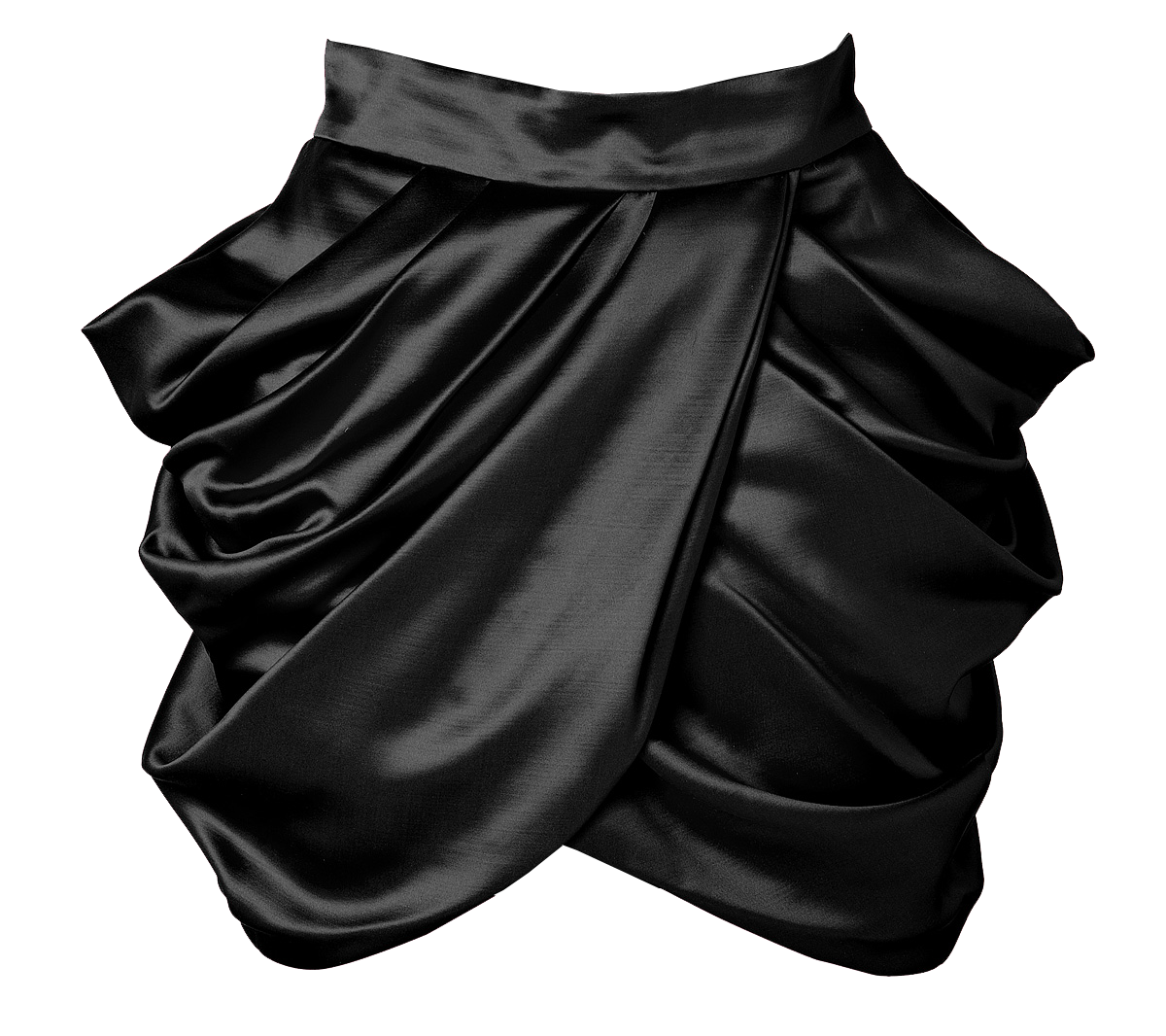 Balmain Wool-Silk Draped Side Skirt in Black
