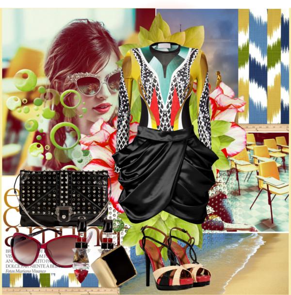 Black Balmain mini skirt peter pilotto Lana print Fendi Sand Black Scarlet Raffia Embossed Leather Platform Sandals PAULA CADEMARTORI bag