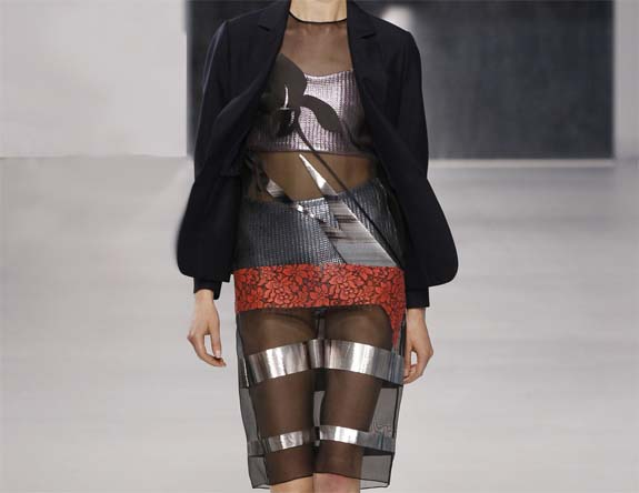 Christian Dior black sheer foil dress cruise 2014