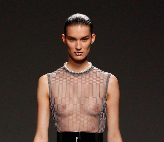 Christian Dior dark grey and light grey knitted evening dress sheer top