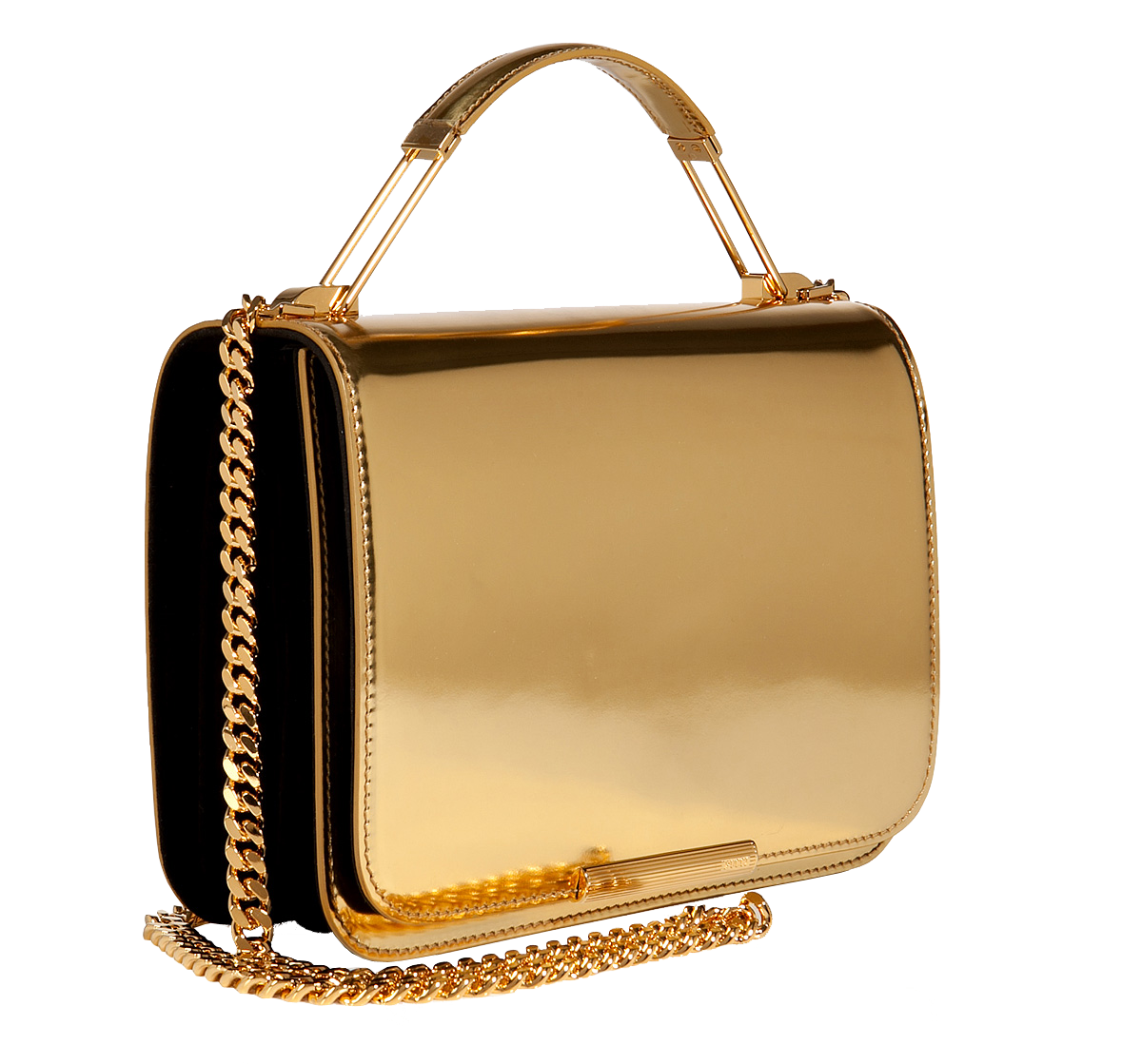 Emilio Pucci Leather Accordion Satchel in Gold Metallic