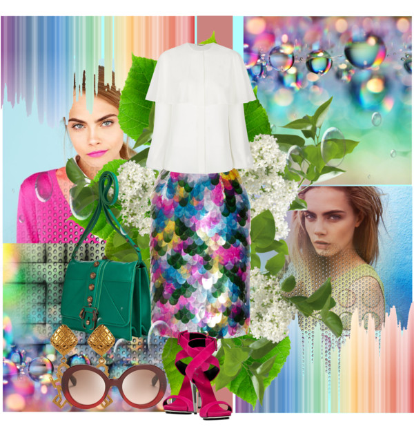 Erdem Aysha paillette-embellished floral-print silk skirt Paula Cademartori Green Leather Tatiana Shoulder Bag GIUSEPPE ZANOTTI Pink Suede Sandals Chanel earrings Prada sunglasses