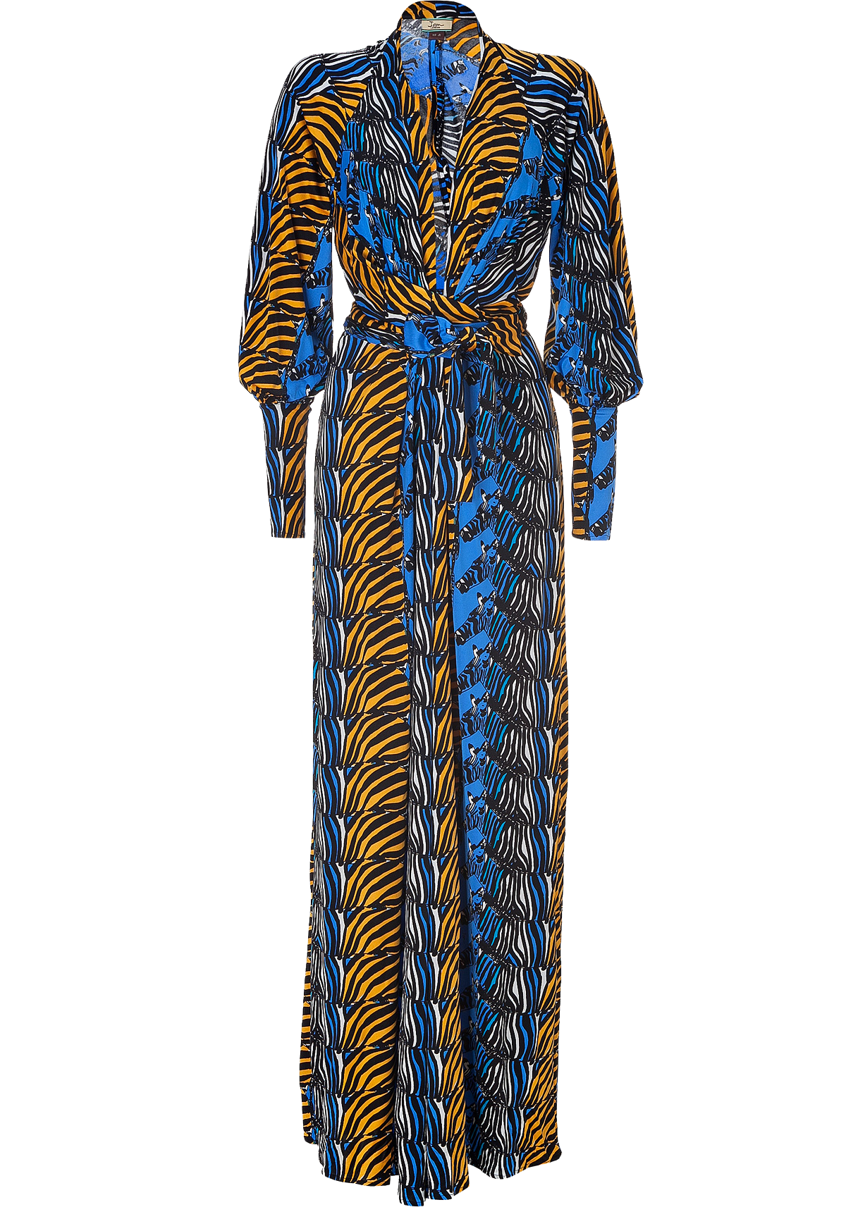 Issa Denim Blue Honey Zebra Print Silk Maxi Dress