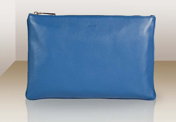 Jil Sander Cerulean Textured Deer Leather Pouch