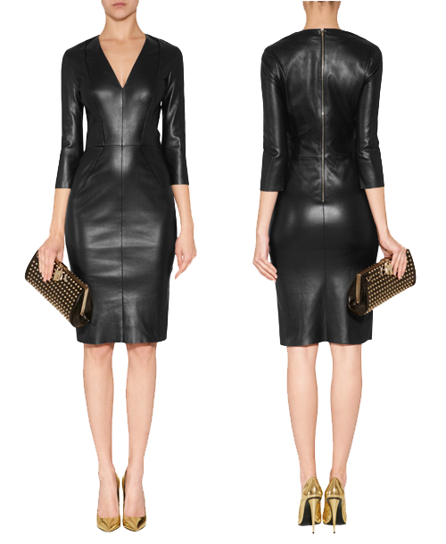 Jitrois black leather dress front back views