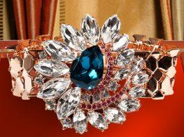 MAWI Rose Gold-Plated Flower Embellished Watchstrap bracelet in blue