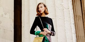Mary Katrantzou Silk Crepe Long Sleeve Dress in Emira Emerald gold shoes gold bag