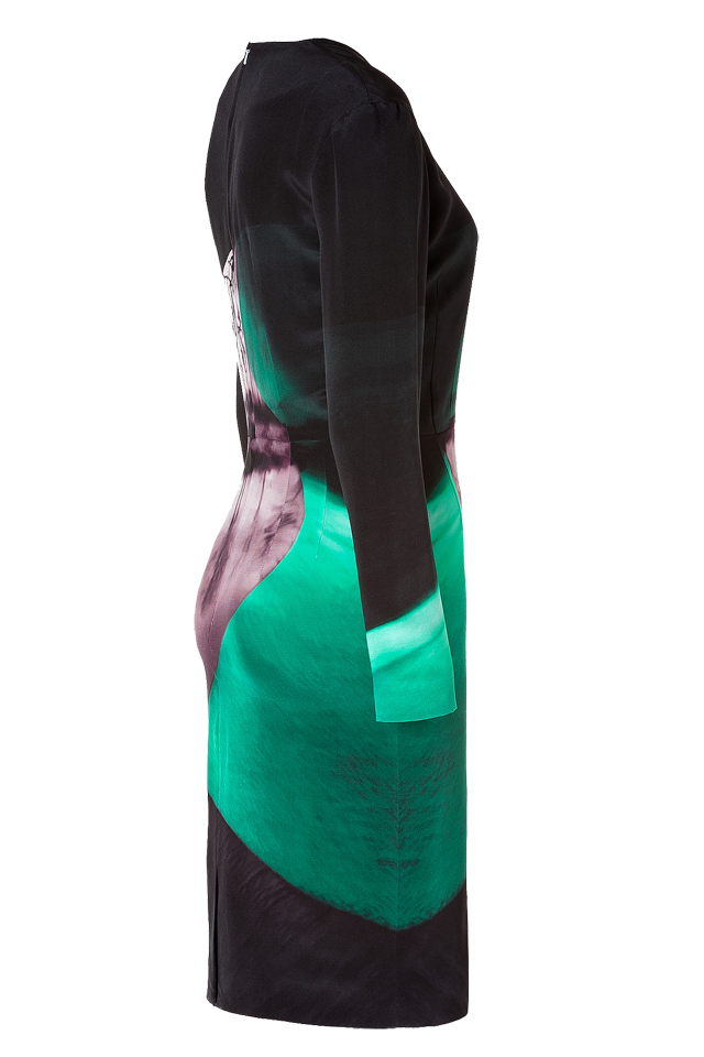 Mary Katrantzou Silk Crepe Long Sleeve Dress in Emira Emerald side view