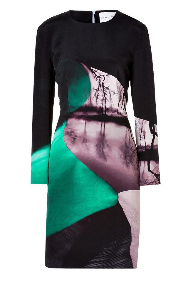 Mary Katrantzou Silk Crepe Long Sleeve Dress in Emira Emerald